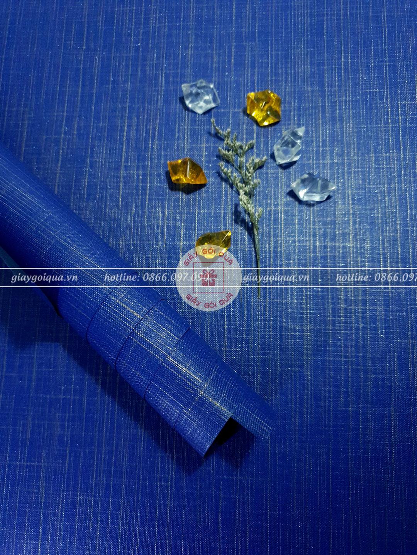 Giấy gói quà, bọc quà cao cấp chất vải sọc màu xanh dương