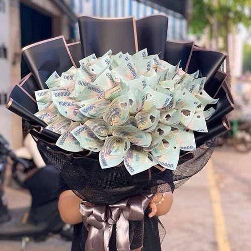 Bó hoà trang trí bằng tiền